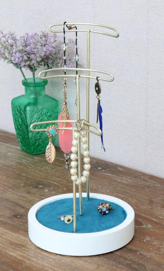 Wooden Circle Base Jewellry Holder 14X14X27.2cm Velvet Jewelry Rack, Home Decor Craft, Home Decor, Wooden Art, Home Decoration