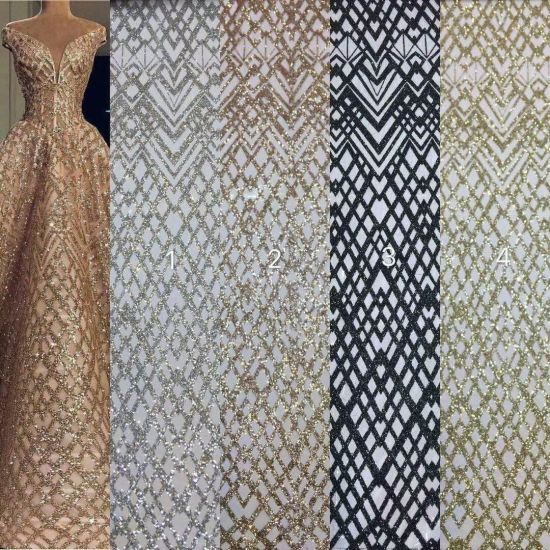 Lace Fabric with Sequins for Party and Wedding Dress