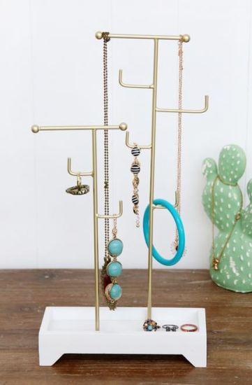 Wood Base Wire Jewellery Holder 20X8X39cm Jewelry Rack Holder