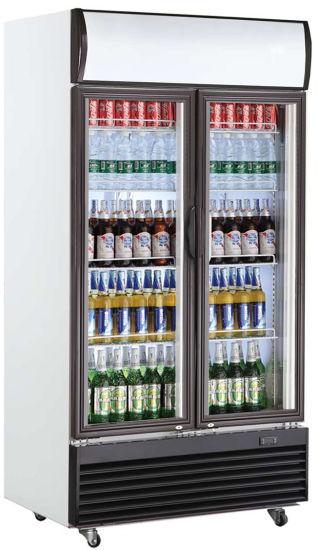 Double Door Vertical Display Freezer for Drink in Supermarket Kitchen Fridge Refrigerator (LG-1400BF)