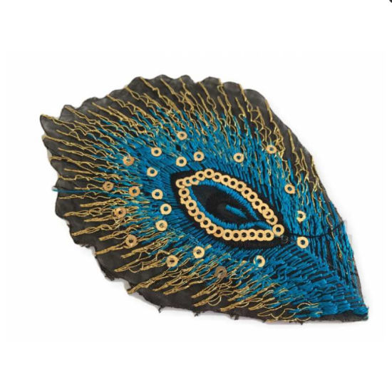 Blue Peacock Feather Design Custom Sequin Iron on Patches