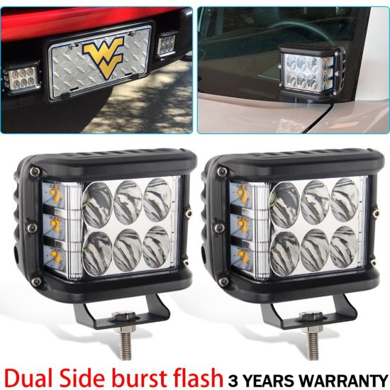 Waterproof 3000K 6500K Dual Color Flash Jeep LED Work Light, ATV UTV Mini Strobe  Light LED
