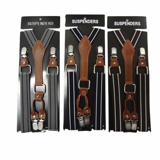 Classical Fashion Striped Men Suspender 4 Clips