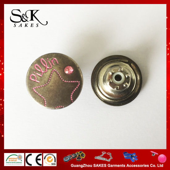 15mm Anti Silver Metal Alloy Shank Button with Pink Stone for Garments