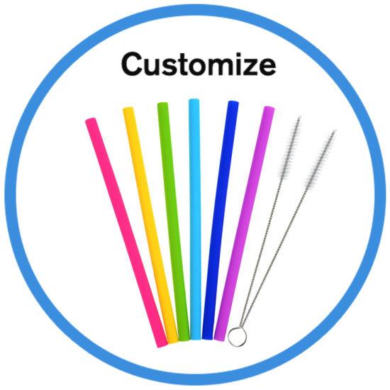 Custom Print Reusable Folding Flexible Food Grade Silicone Drinking Straw