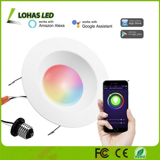 [Hot Item] 6 Inch RGBW Remote Control WiFi Downlight Tuya Smart LED Down  Light