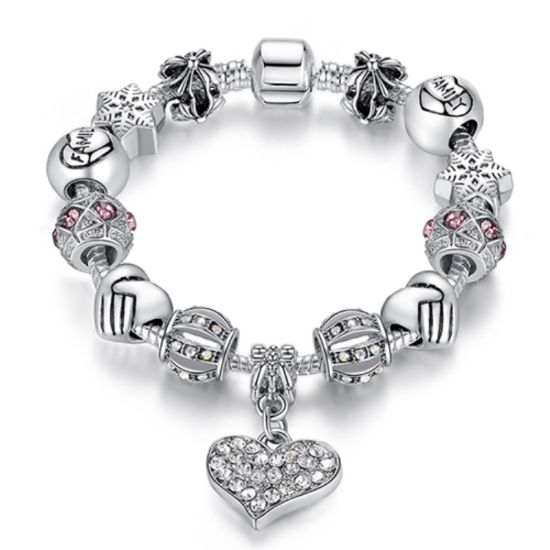 China Snowflake Love Pendant Charm Bracelet China Charm Bracelet Beauteous Love Snowflake Quotes