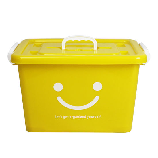 Hot Sale High Quality Smile Face 25L Customized Color Plastic Storage Box