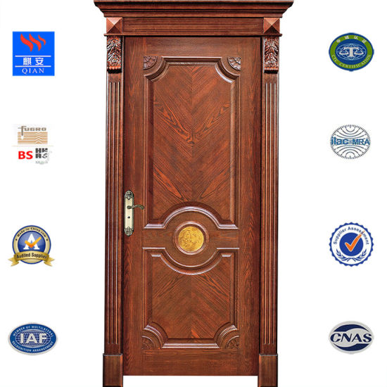 China Classical Style Oak Wood Interior Solid Wood Doors With Pu