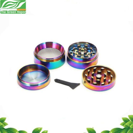 Colorful 4 Pieces Metal Zinc Alloy Tobacco Grinder Rainbow Spice Grinder From The Green Vapor pictures & photos