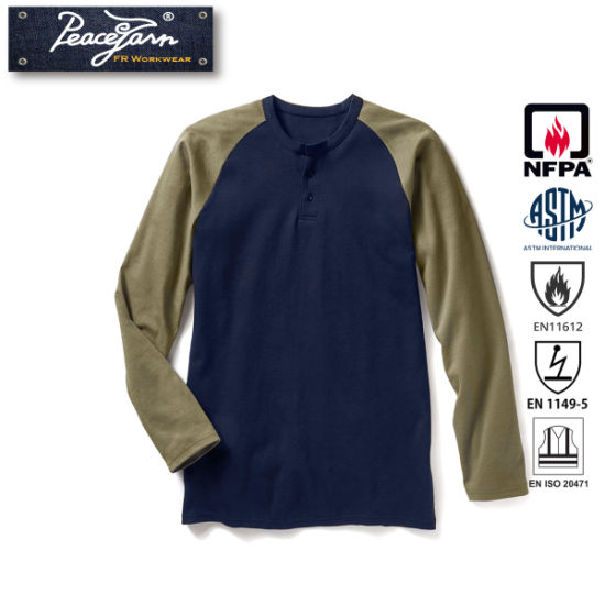 Fr Clothing Flame Resistant Work Clothes Henley Shirt Workwear