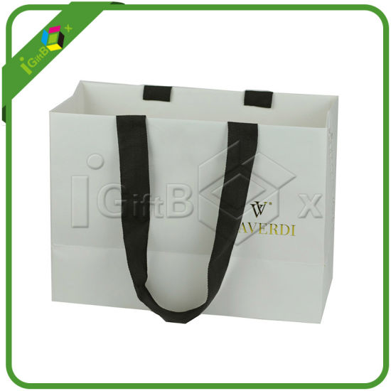 White Paper Shopping Bag with Handles pictures & photos