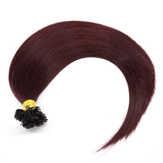 Fashion Burgundy Flat Tip Remy Human Hair Extensions Top Quality Pre-Bonded Hair Extensions Factory Wholesale Price