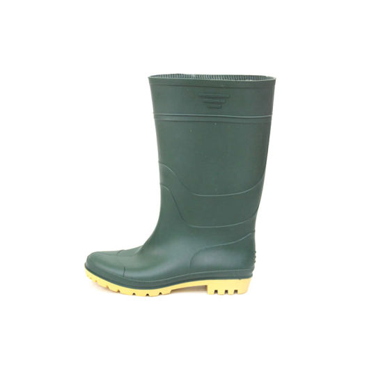 24810e5786a0 PVC Rain Boots (Blackish green upper/Yellow Sole) pictures & photos