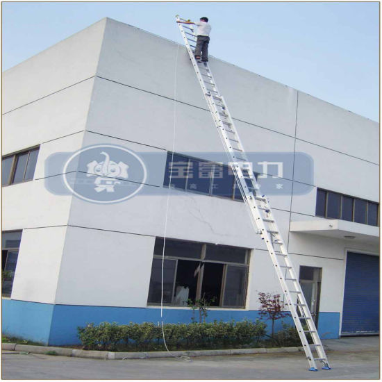 (375LBS) 12m Aluminum Alloy 3-Section Grooved Rail Extension Ladder