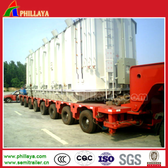 Heavy Duty 100-500ton Modular Hydraulic Flatbed Truck Trailer with Steering Axles pictures & photos