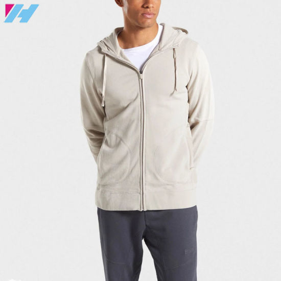 Wholesale OEM Service Custom Causal Fitness Men Zip Hoodie