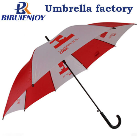 "24"" Automatic Walking Stick Umbrella Red White with Logo Printed for Gifts/Advertising"