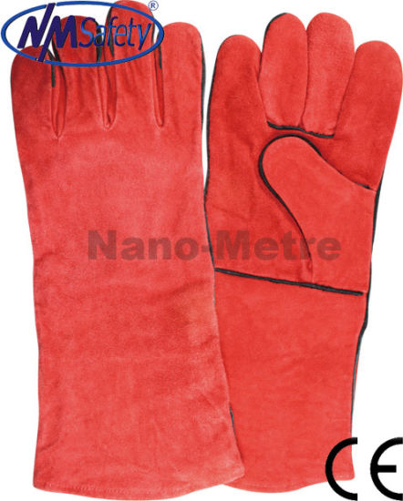 Nmsafety Red Cow Split Leather Welding Work Glove