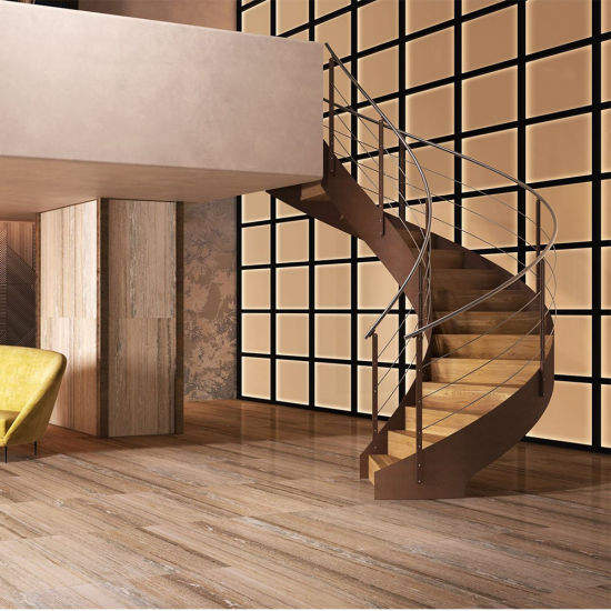 Styling A Staircase: China New Style Curved Staircase With Cable Railing