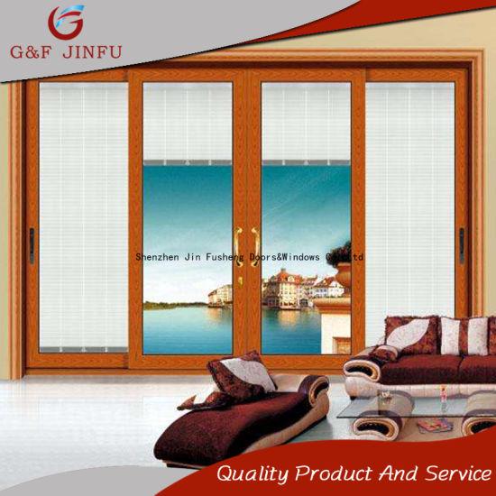 China Luxury Design Aluminum Glass Sliding Door With Shuttersinsect