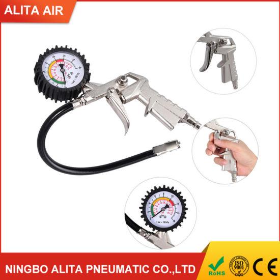 Air Compressor Tyre Meter Inflator with Pressure Dial Gun Gauge 0-220PSI