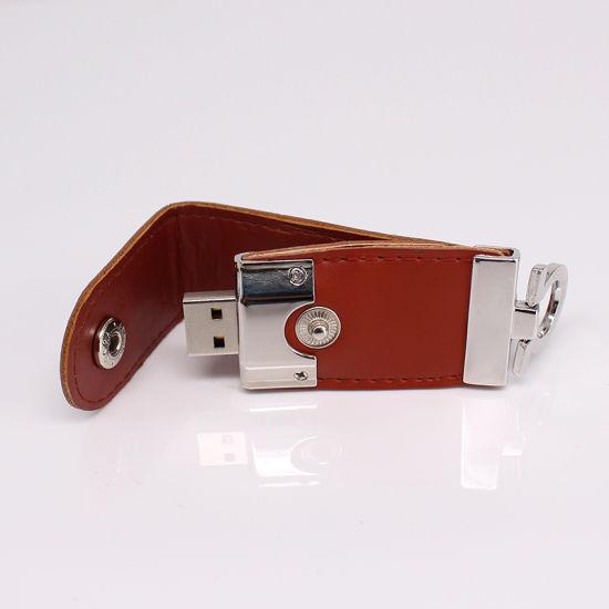 Custom Logo Printing Leather USB Pen Drive Metal USB Stick USB 2.0 USB 3.0 Leather USB Flash Drive