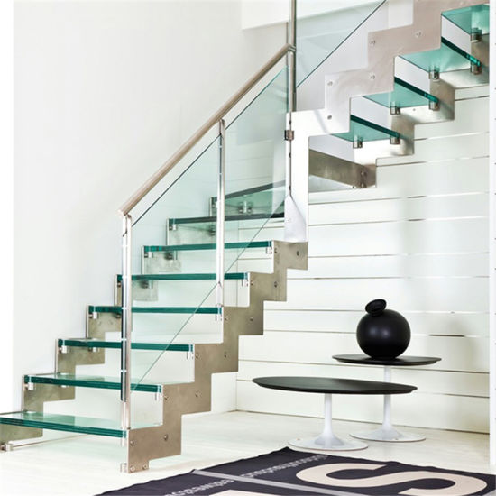 China Residential Zig Zag Glass Staircase Glass Handrail L
