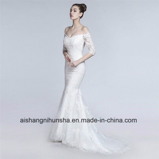 China Vintage Lace Mermaid Wedding Dress off-Shoulder Handmade ...