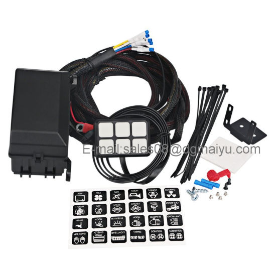 harness kit for any vehicle  universally adaptable dc12v led 6 switch  panel electronic relay system with circuit control box - wiring