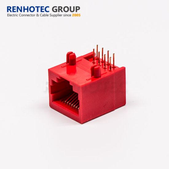 Red Colour CAT6 RJ45 Ethernet Panel Mount Connector