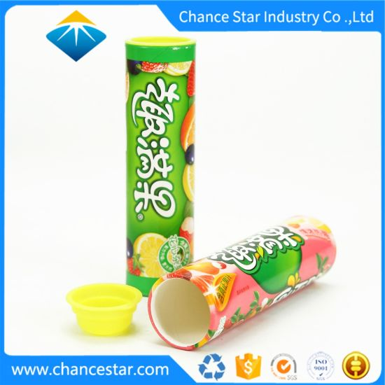 Custom Printing Paper Candy Packaging Tube Box with Plastic Lid