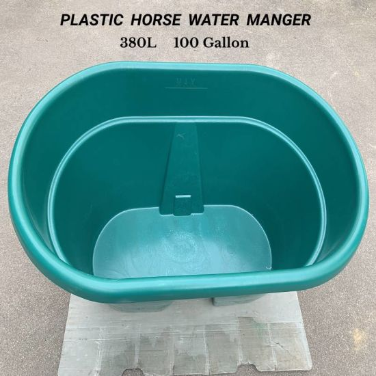 100 Gallon 380L Plastic Portable Horse Cattle Feed Bucket Water Manger Horse Feeder Bucket Large Capacity Round Manger