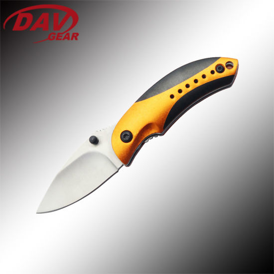 EDC Series 2.85 Inch Closed Pocket Knife 420 Stainless Steel Stain Blade and Black + Orange Aluminum Handle for Everyday Carry and Gift