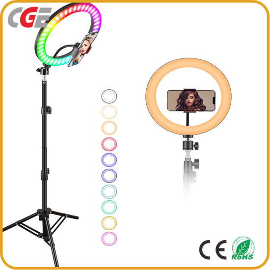 Hot Selling Photography Studio 6/8/10/14 Inch RGB Colorful Control LED Ring Light with Tripod Stand Phone Holder