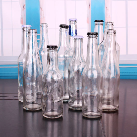 Top Quality Amber and Clear Empty Glass Beer Bottle with Metal Crown Lid