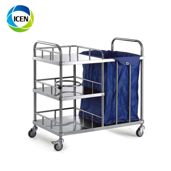 in-681 clinical finberglass laundry 3 layers instruments hospital trolley cart