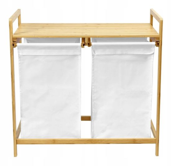 Bamboo Laundry Storage with Two Bag Bamboo Laundry Bin