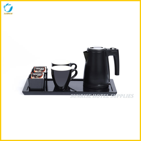 New Arrival 5 Star Hotel Welcome Tray Set with Stainless Steel Mini Kettle