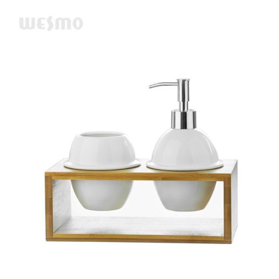 Bamboo and Ceramic Bathroom Set