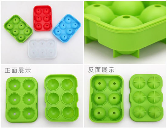 Flexible Food Grade 6 Balls and 6 Spheres Custom Silicone Ice Cube Tray Ice Ball Mold Maker