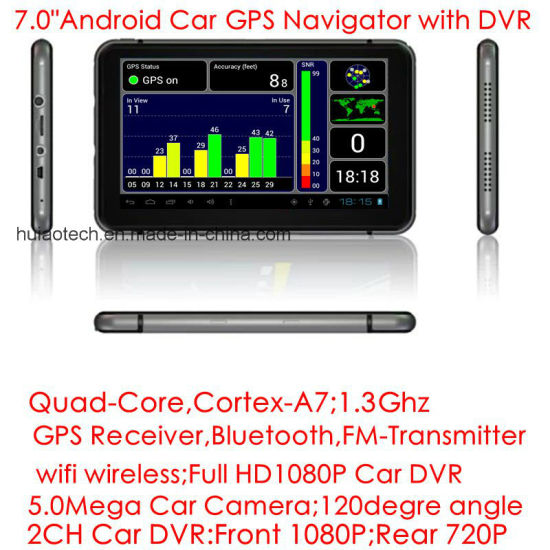 "Slim New 7.0"" Capacitive Touch Android OS Car GPS Navigator Tablet PC with 2CH Car Black Box Digital Car DVR, Full HD108p Car Video Recorder, Parking Camera pictures & photos"