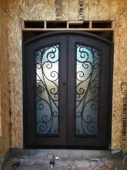 China Finish Copper Wrought Iron Double Entry Door China Iron Door