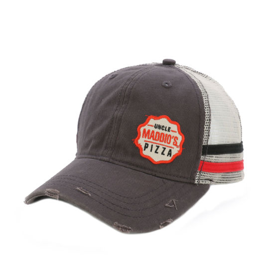 Wholesale Patch Embroidery Logo Washed Cotton Trucker Cap with Line in Side Customized