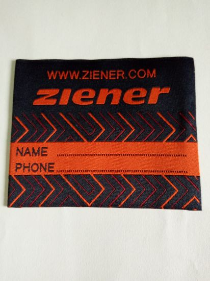 Pattern Design Damask End Folded Woven Label pictures & photos