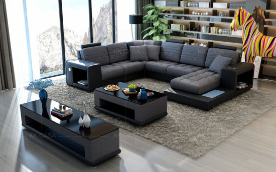 Gray Fabric Sectional Sofas Living Room