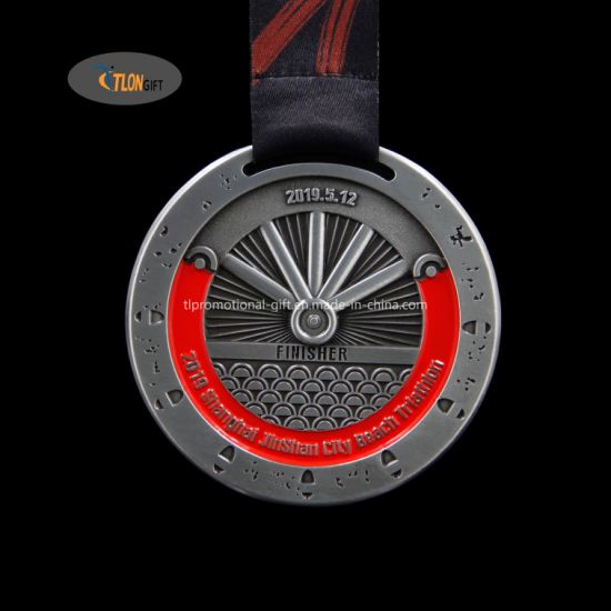 Manufacture Custom Marathon Running Race Sport Finisher Metal Medal with Ribbon