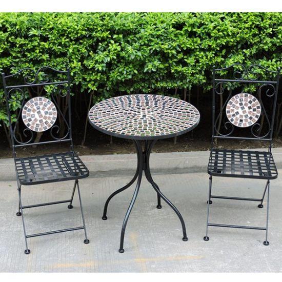 Wrought Iron Mosaic Bistro Set Garden
