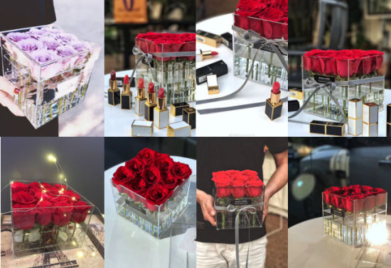 Handmade Clear Acrylic Flowers Box for 9, 16, 25, 36 Roses pictures & photos