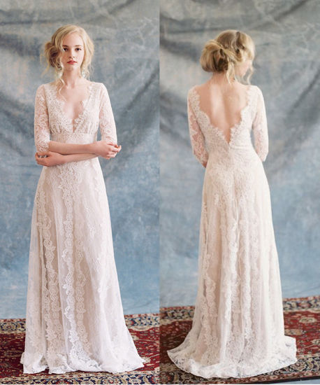 China Lace Bridal Gowns Beach 3/4 Sleeves Wedding Dress 2017 A143 ...